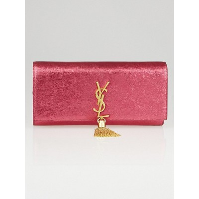 Yves Saint Laurent Pink Cracked Shiny Metallic Calfskin Leather Monogram Tassel Clutch Bag