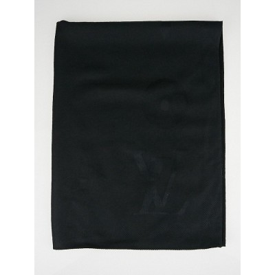Louis Vuitton Black Cashmere/Silk Monogram Shawl Scarf