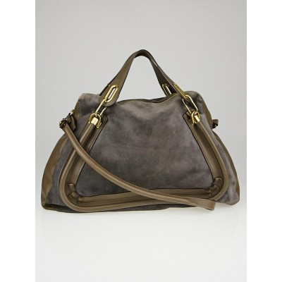 Chloe Grey Suede and Leather Large Paraty Bag