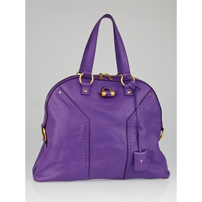 Yves Saint Laurent Purple Calfskin Leather Oversized Muse Bag