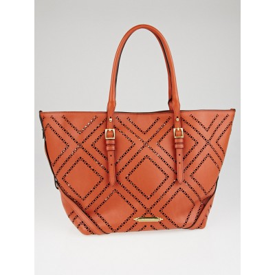 Burberry Orange Perforated Leather Salisbury Tote Bag
