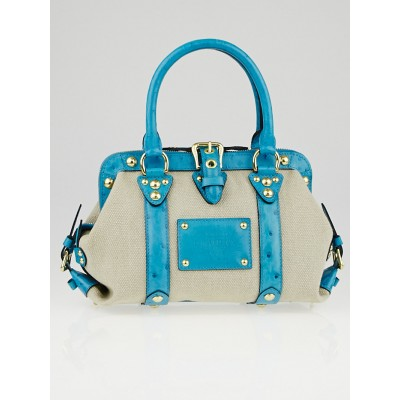 Louis Vuitton Limited Edition Sac de Nuit Toile Trianon Canvas Turquoise Ostrich MM Bag
