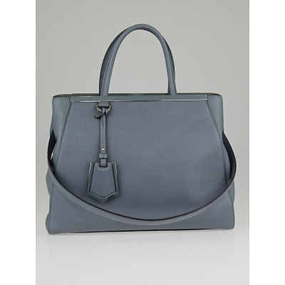 Fendi Cielo Vitello Leather Medium 2Jours Elite Tote Bag
