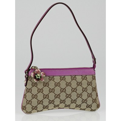 Gucci Beige/Purple GG Canvas Hawaii Exclusive Accessories Pochette Bag