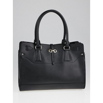Salvatore Ferragamo Black Pebbled Leather Briana Small Tote Bag