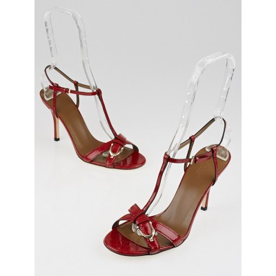 Gucci Red Patent Leather Microguccissima Open-Toe Sandals Size 8/38.5