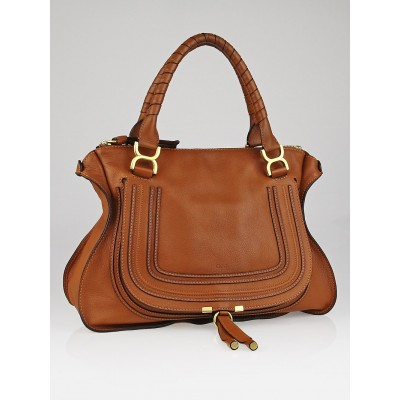 Chloe Tan Pebbled Leather Large Marcie Satchel Bag