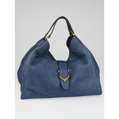 Gucci Blue Nubuck Leather Soft Stirrup Large Shoulder Bag