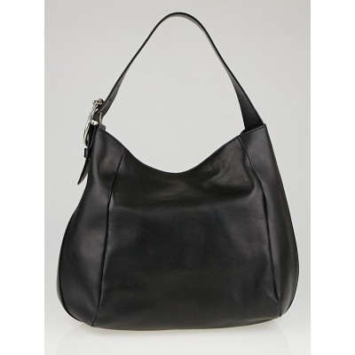 Gucci Black Leather Ribot Horse-Head Hobo Bag