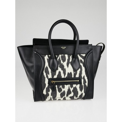 Celine Black and White Animal Print Mini Luggage Bag