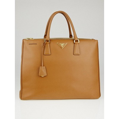 Prada Caramel Saffiano Lux Leather Double Zip Executive Tote Bag BN1802