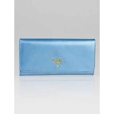 Prada Blue Patent Leather Continental Wallet