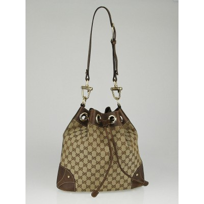Gucci Beige/Brown GG Canvas Horsebit Cinch Shoulder Bag