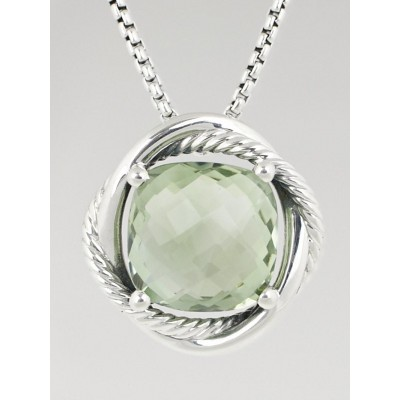 David Yurman 14mm Prasiolite and Sterling Silver Infinity Pendant Necklace