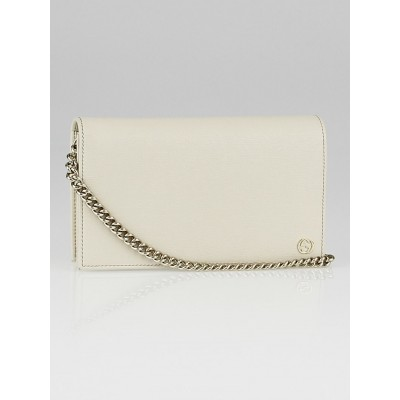 Gucci White Leather Interlocking G Chain Wallet Clutch Bag