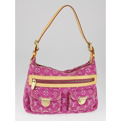 Louis Vuitton Fuchsia Denim Monogram Denim Baggy PM Bag