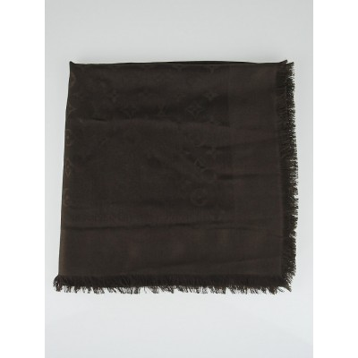 Louis Vuitton Brown Monogram Silk/Wool Shawl Scarf
