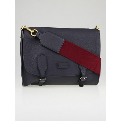 Gucci Navy Blue Pebbled Leather Messenger Bag