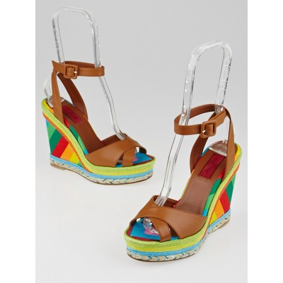 Valentino Brown Leather/Multicolor Canvas 1973 Espadrille Wedges Size 6.5/37