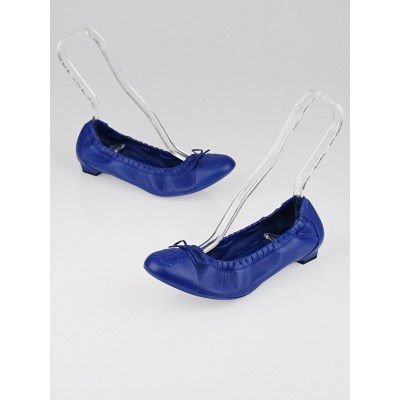 Chanel Royal Blue Leather CC Scrunch Elastic Ballet Flats Size 8.5/39