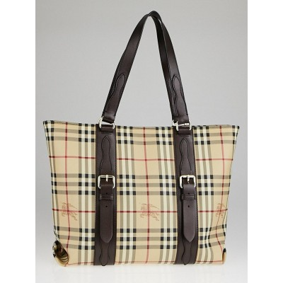 Burberry Coated Canvas Haymarket Check Large Tote Bag