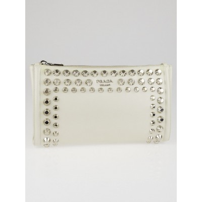 Prada White Saffiano Leather Studded Large Zip Clutch Bag BP601M