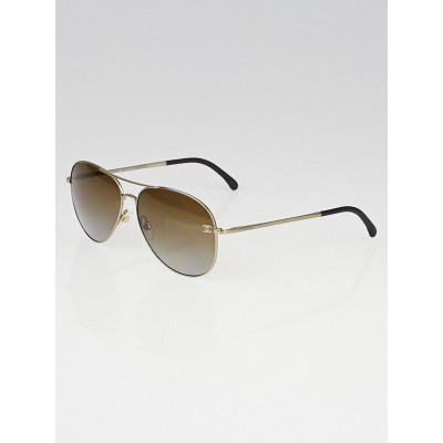 Chanel Silvertone Metal Frame and Brown Tint Aviator Sunglasses-4189-T