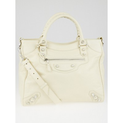 Balenciaga Blanc Creme Lambskin Leather Giant 12 Silver Velo Bag