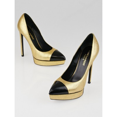 Yves Saint Laurent Gold/Black Leather Cap Toe Janis Pumps Size 6/36.5
