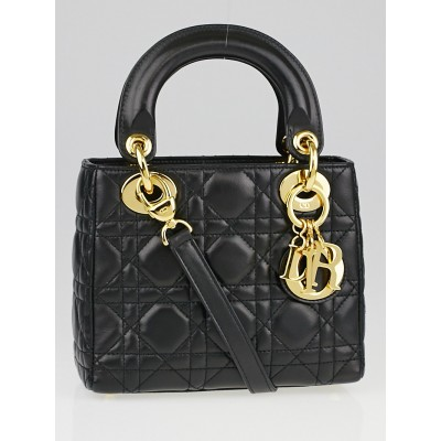 Christian Dior Black Cannage Quilted Lambskin Leather Micro Lady Dior