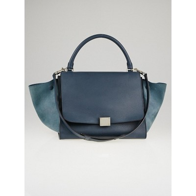 Celine Blue Leather/Suede Medium Trapeze Bag