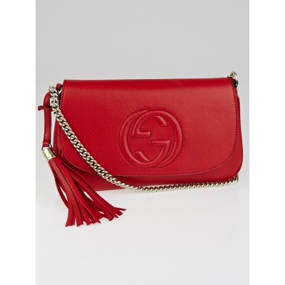 Gucci Red Leather Soho Chain Shoulder Crossbody Bag