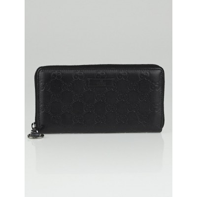 Gucci Black Guccissima Leather Horsebit Zip Around Wallet
