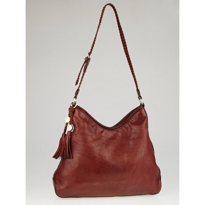Gucci Dark Red Leather Marrakech Medium Hobo Bag