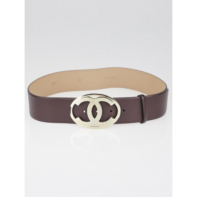 Chanel Brown Leather CC Belt Size 85/34