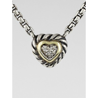 David Yurman Sterling Silver and Pave Diamond Cable Heart Pendant Necklace