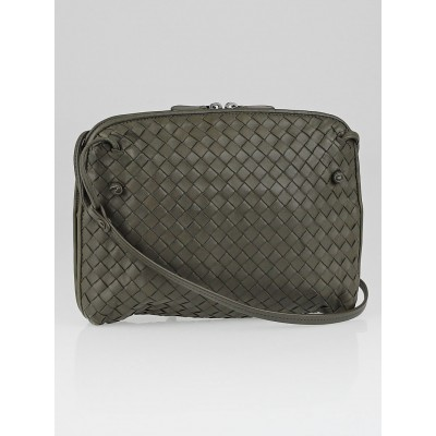 Bottega Veneta Grey Intrecciato Woven Nappa Leather Crossbody Bag