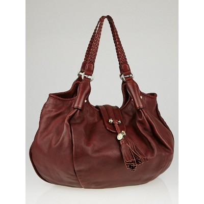 Gucci Dark Red Leather Pebbled Marrakech Large Hobo Bag