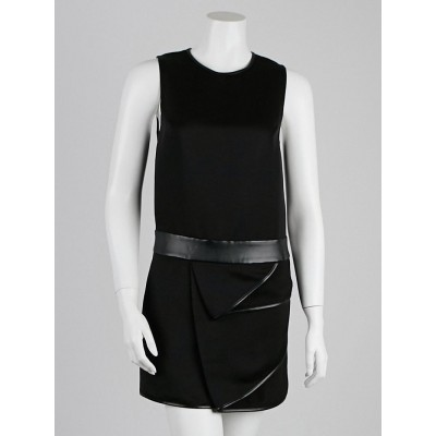 3.1 Phillip Lim Black Faille Faux Leather Trim Sleeveless Dress Size 0