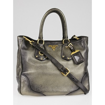 Prada Silver Metallic Daino Antik Leather Shopping Tote Bag