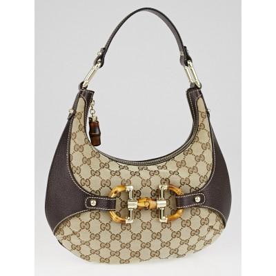 Gucci Beige/Ebony GG Canvas Bamboo Amalfi Small Hobo Bag