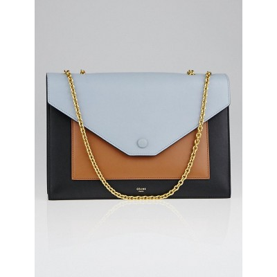 Celine Tan Tri-Color Smooth Calfskin Leather Pocket Chain Flap Bag