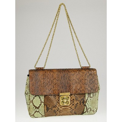 Chloe Green/Brown Python Large Elsie Chain Flap Bag