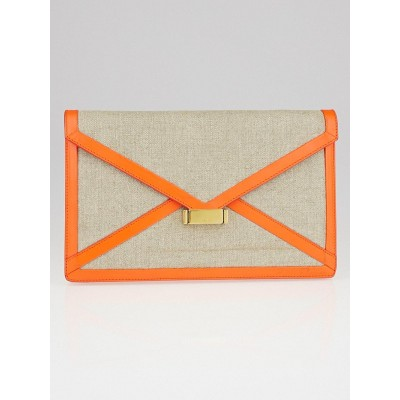 Celine Bright Orange Calfskin Leather and Linen Diamond Clutch Bag