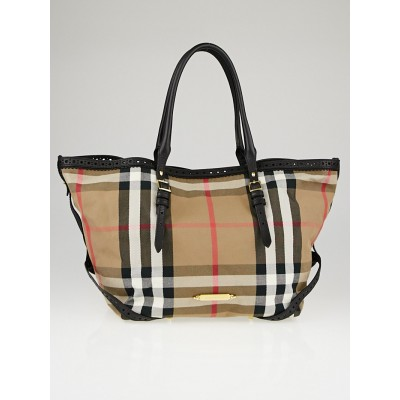 Burberry Black Leather House Check Canvas Tote Bag