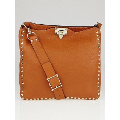 Valentino Brown Pebbled Leather Rockstud Messenger Bag