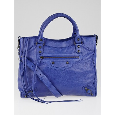 Balenciaga Bluette Lambskin Leather Motorcycle Velo Bag