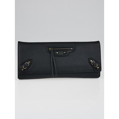 Balenciaga Black Calfskin Leather Papier Landscape Clutch Bag
