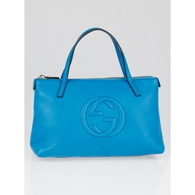 Gucci Turquoise Leather Soho Mini Tote Bag