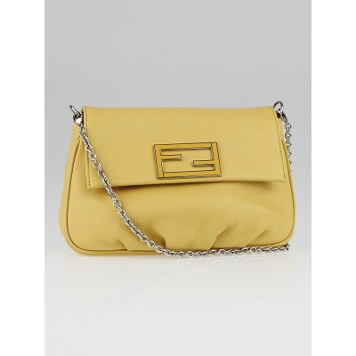 Fendi Yellow Leather Fendista Pochette Crossbody Bag